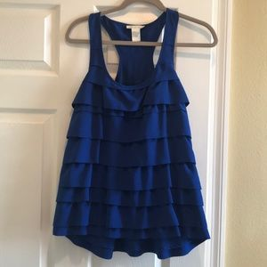 Blue Gracie Tank with Ruffles